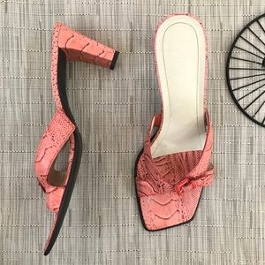 Franco Sarto Croc Square Toe Peach Heeled Sandals
